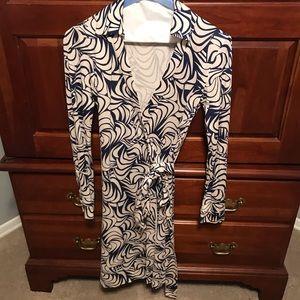 Cream and blue Diane Von Furstenberg Dress Size 2